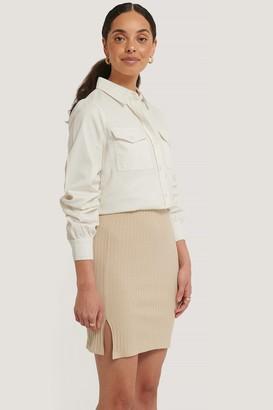 NA-KD Ribbed Slit Mini Skirt
