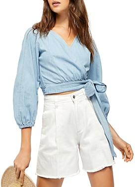 Free People Sophie Cotton Cropped Wrap Top