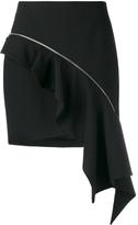 Saint Laurent Zip Asymmetric Ruffle Skirt