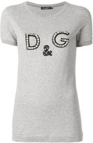 Dolce & Gabbana logo printed T-shirt - women - Silk/Cotton/Polyester/glass - 40