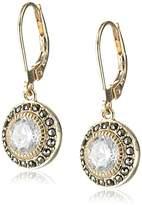 Judith Jack Golden Class Sterling Silver Yellow Gold-Tone Marcasite Cubic-Zirconia Drop Earrings