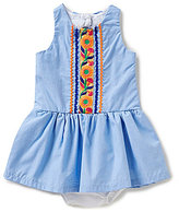 Rare Editions Baby Girls 3-24 Months Embroidered Chambray Dropwaist Dress