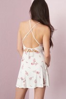 Garage High Neck Cross-Back Fit & Flare Dress