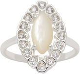 SPARKLE ALLURE Sparkle Allure Womens Clear Silver Over Brass Cocktail Ring