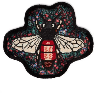 Gucci Bee-embroidered Satin Cushion - Black Multi