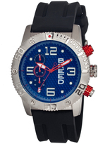 Breed Silver & Blue Grand Prix Chronograph Silicone-Strap Watch