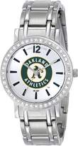 Game Time Women's MLB-AS-OAK All Star Stone Bezel Triple Silver Analog Display Japanese Quartz Silver Watch