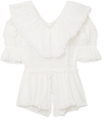 See by Chloe Lace-trimmed Ruffled Cotton-voile Blouse