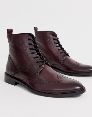 Dune lace up leather brogue boot in burgundy-Red