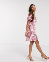 In The Style x Fashion Influx frill sleeve ruched mini dress in pink floral print