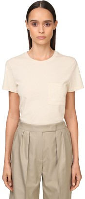 Max Mara EMBROIDERED DETAIL COTTON JERSEY T-SHIRT