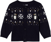 Absorba Navy Penguin and Snowflake Knit Cardigan