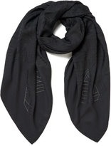 Kenzo Women's High End Icons Flying Logo Devore Scarf Grey