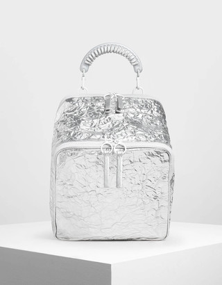Charles & KeithCharles & Keith Rope Handle Wrinkled Effect Patent Backpack