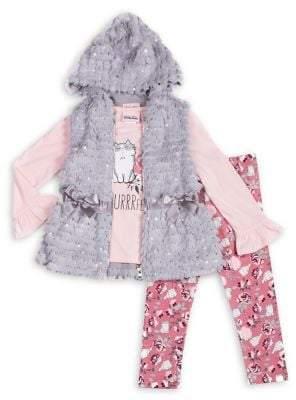 Little Lass Little Girl's I'm Purrrfect 3-Piece Graphic Top, Faux Fur Vest & Floral Leggings Set