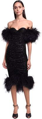 NERVI Sequined Midi Dress W/ Feathers