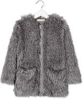 Stella McCartney Sparkles Girls Faux Fur Coat in Grey