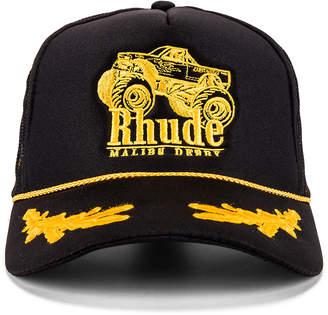 Rhude Malibu Derby Trucker in Black & Yellow | FWRD