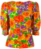 1980's Floral Print Belted Top