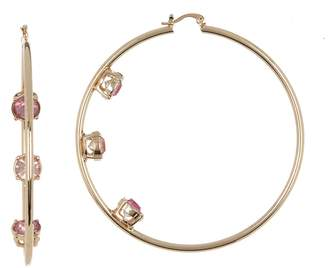 Steve Madden Round-Cut Rhinestone 74mm Hoop Earrings