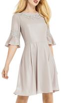 Oasis Lace Trim Shimmer Skater Dress, Mid Grey