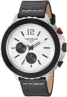 Vestal Yacht Stainless Steel Japanese-Quartz Watch with Leather Strap