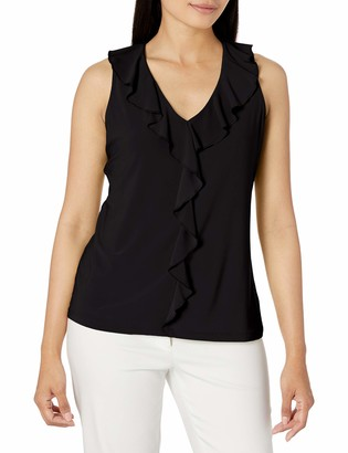 Nine West Women's Sleeveless V-Neck Solid Ruffle Front Knit TOP