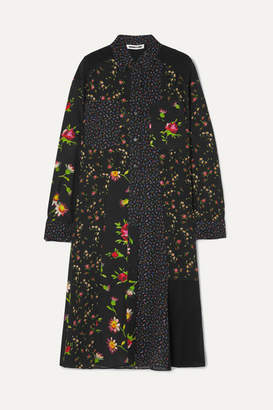 McQ Paneled Floral-print Georgette Shirt Dress - Black