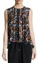 Peter Pilotto Floral Sleeveless High-Low Blouse, Black