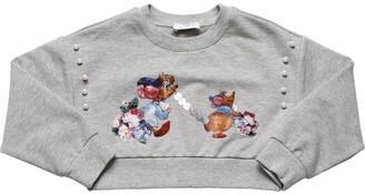 MonnaLisa Velvet Patch Cropped Cotton Sweatshirt