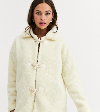Daisy Street jacket with toggles in teddy fleece-White
