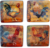 Certified International Rustic Rooster Set of 4 Canap Plates