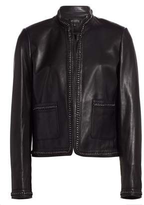 St. John Chain-Trimmed Leather Jacket