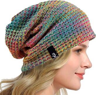 HISSHE Women Slouch Beanie Knit Beret Skullcap Long Baggy Winter Summer Hats B08w (Solid Red)