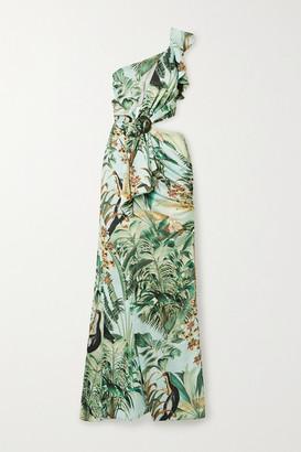 PatBO Eden Cutout One-shoulder Printed Satin Maxi Dress - Mint