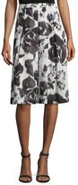 St. John Rose-Print Pleated A-Line Skirt, Alabaster/Multi