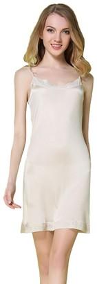 Hoffen Women's 100% Mulberry Silk Smooth Full Slip Lace Night Dress (Black L)