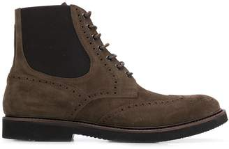 Eleventy perforated lace-up boots