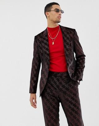 ASOS DESIGN super skinny suit jacket in velvet with red glitter design