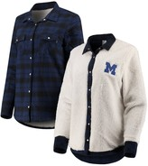 Unbranded Women's Navy/Cream Michigan Wolverines Reversible Sherpa Flannel Long Sleeve Button-Up Shirt