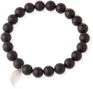 Sydney Evan 14k White Gold Diamond Wing & Onyx Bracelet