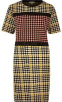 River Island Womens Yellow block houndstooth print dress