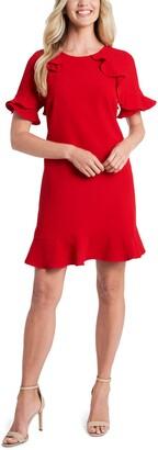 CeCe Ruffled Crepe Shift Dress