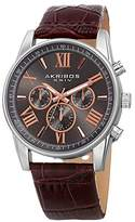 Akribos XXIV Men's Swiss Quartz Multi-Function Silver-Tone Case with Grey Sunray Dial and Brown Alligator Embossed Genuine Leather Strap Watch AK911SSBR