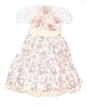 Mi Amore Gigi Big Girls Peasant Dress with Cream Sash