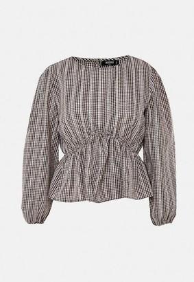 Missguided Plus Size Black Gingaham Embroidered Peplum Blouse