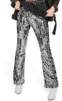 Topshop Premium Sequin Flare Leg Trousers