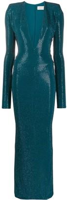 Alexandre Vauthier Long Rhinestone-Embellished Dress