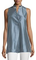 Lafayette 148 New York Eloise Sleeveless Tunic Blouse, Blue Dusk