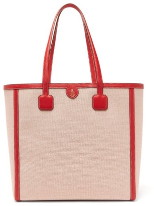 Mark Cross Antibes Large Leather-trimmed Canvas Tote - Red Multi